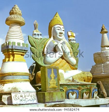 Monastery Gandan Khiid in Ulaanbaatar, Mongolia, The stupa is the oldest Buddhist religious monument. - stock photo