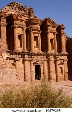 Monastery in ancient Petra, Jordan - stock photo