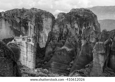 Monastery in Meteora, Greece. Black and white image. - stock photo
