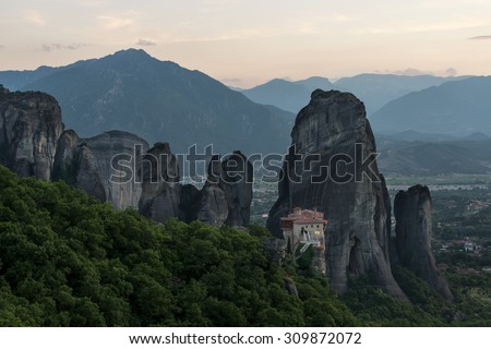 Monastery Meteora, Greece at sunset - stock photo