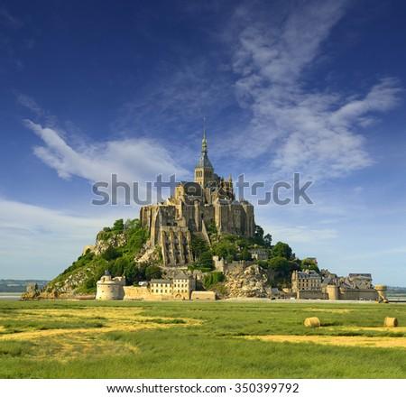 Monastery Mont Saint Michel, France, UNESCO World Heritage Site - stock photo