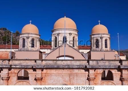 Monastery of Agia Triada of Chania in Crete, Greece. - stock photo