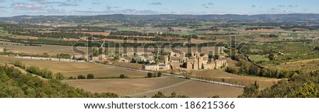 Monastery of Poblet, Spain,  UNESCO World Heritage Site - This Cistercian abbey in Catalonia is one of the largest in Spain. At its center is a 12th-century church. - stock photo