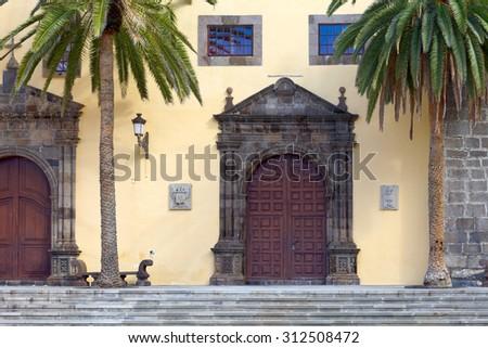 Monastery of San Francisco in city Garachico, Tenerife, Canary Islands, Spain. - stock photo