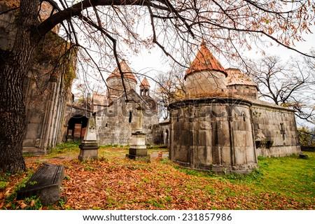 Monastery of Sanahin located in Sanahin village at Lori Province, Armenia - stock photo