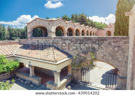Monastery on Mount Filerimos on Rhodes in Greece built by the Knights of Saint John.  - stock photo