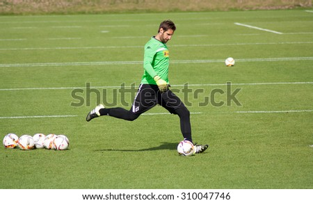 MONCHENGLADBACH, GERMANY - 26th AUGUST, 2015: Professional goalkeeper Christofer Heimeroth during training session of german football club VFL Borussia Monchengladbach.