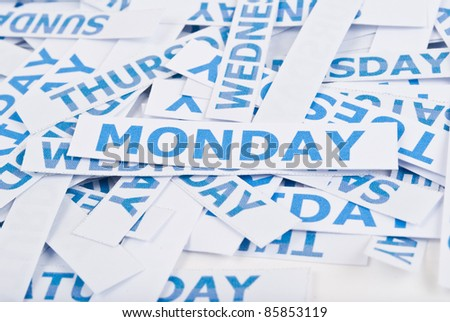 Monday word texture background. - stock photo