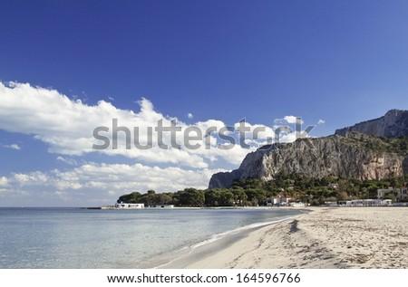 Mondello beach, east side view. Palermo, Sicily. - stock photo
