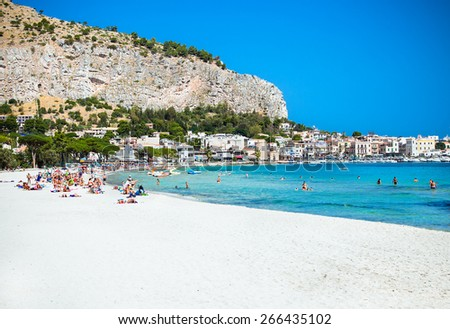 Mondello white sand beach in Palermo, Sicily. Italy. - stock photo