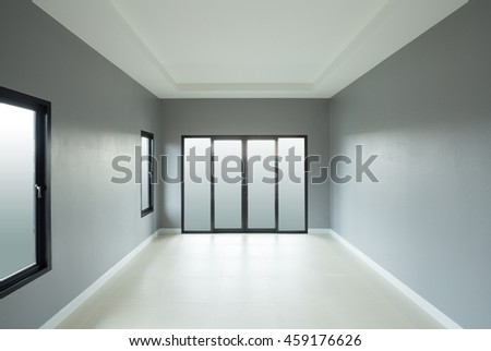 mondern empty room with window and door in house