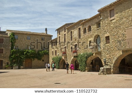 Monells.Medieval village.Catalonia.Spain - stock photo
