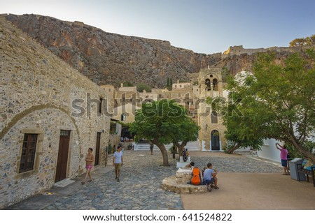 monemvasia greece august 2016 traditional architectural buildings and local shops surrounded by the - Traditional Castle 2016