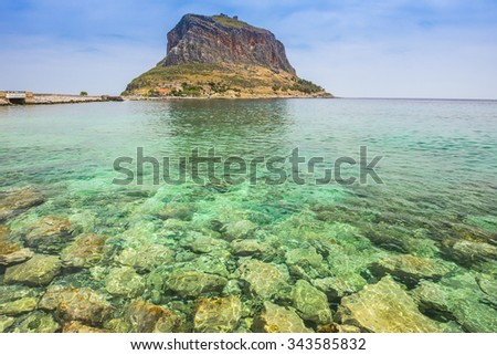 Monemvasia island in Peloponnese, Greece. - stock photo