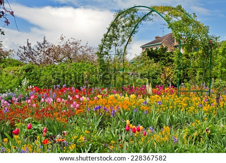 Monet`s garden at spring, Giverny, France. - stock photo