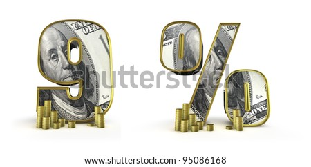 Money alphabet numbers 9 percent