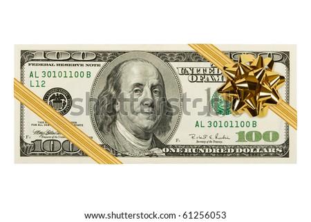 Money and bow isolated on white background - stock photo