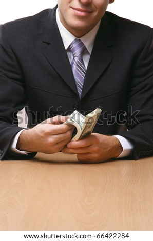 money and businessman - stock photo