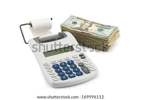 Money and Calculator isolated on white Background. - stock photo