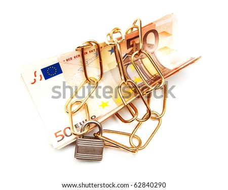 money and chain isolated on white - stock photo