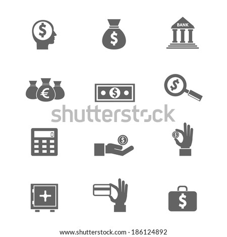 Money and coin icon set - stock photo