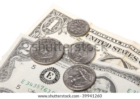 Money and Coins Isolated on a White Background - stock photo