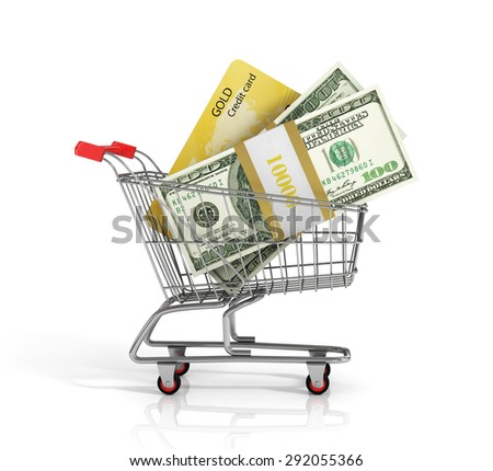 Money and credit card in the shopping cart on white background. Trolley. Credit concept.
