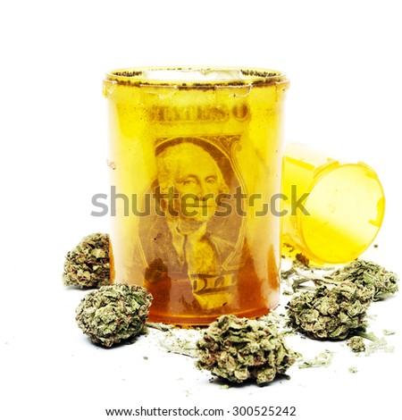 Money and Drugs, Marijuana on White Background, Square  - stock photo