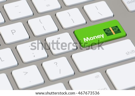 Money and finance online management concept as a keyboard  (3D Rendering)