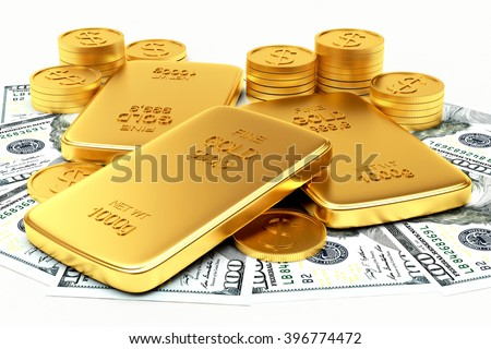 Money and flat golden bars isolated on a white background. 3d illustration - stock photo