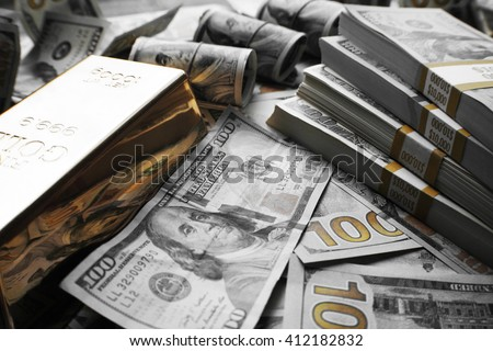 Money and Gold Stock Photo