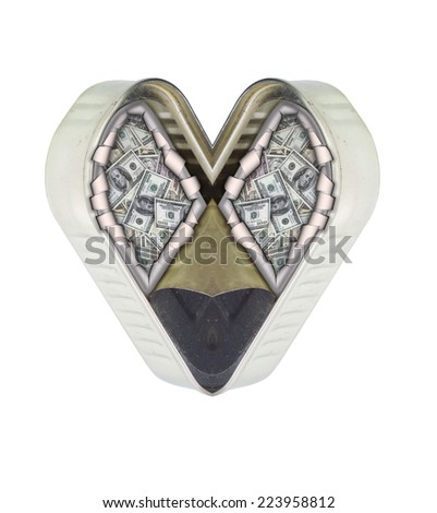 money and heart - stock photo