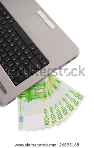 money and laptop concept isolated in white background
