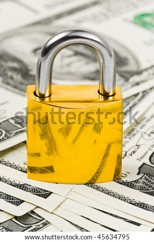 Money and lock - business security background - stock photo