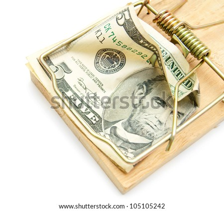 Money and mousetrap. On a white background. - stock photo