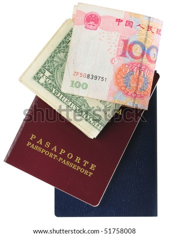 Money and passport. Isolated - stock photo