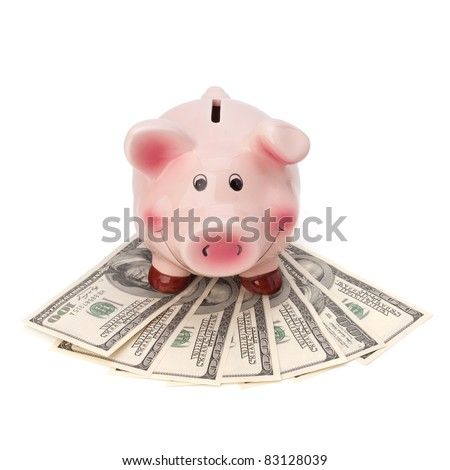 Money and piggy bank isolated on white background.