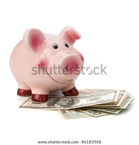 Money and piggy bank isolated on white background. - stock photo