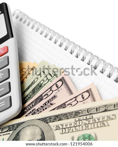 Money and the calculator for a notebook. - stock photo