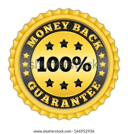 Money back guarantee golden label - stock photo