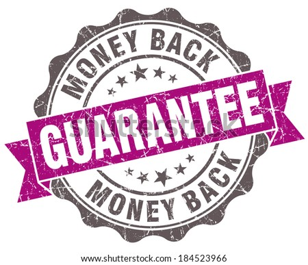 Money back guarantee violet grunge retro style isolated seal - stock photo