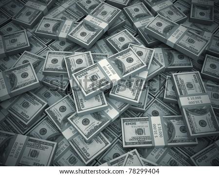 Money background big pile of cash - stock photo