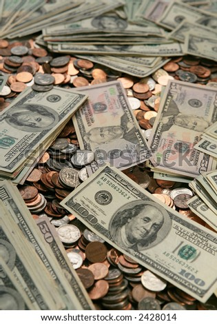 Money background,coins and bill. - stock photo