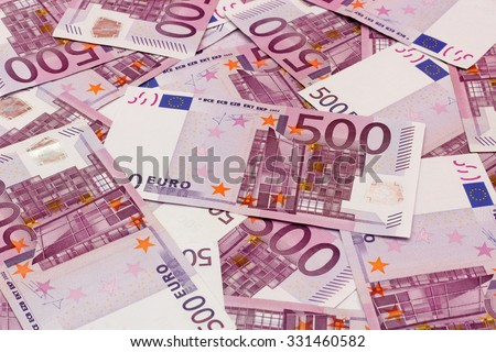 Money background - Five hundred (500) euro bills banknotes - stock photo