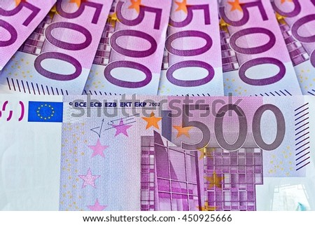 Money background. Five hundred euro bills banknotes.European Currency.  - stock photo