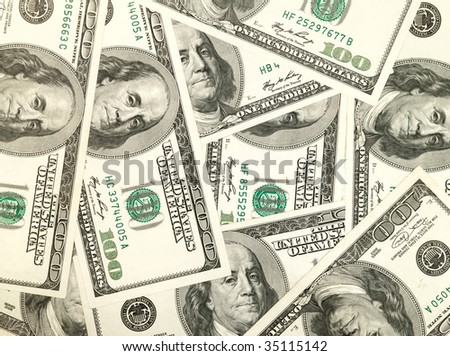Money background from hundred bucks banknotes