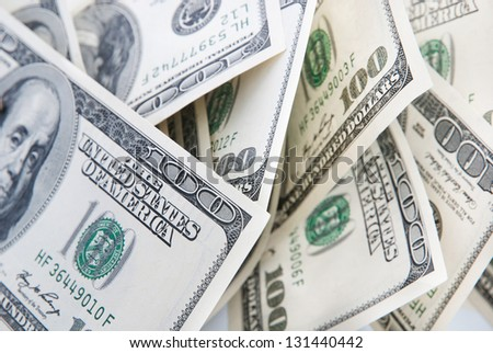 money background of american hundred dollars banknotes - stock photo