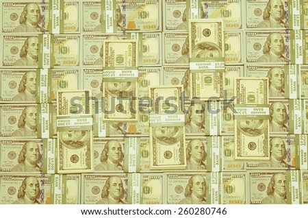 Money background. One hundred dollars (new 100 US dollar banknotes) as background with Instagram effect - stock photo