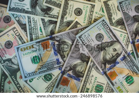 Money background Pile $100 dollar  bills  banknote - stock photo