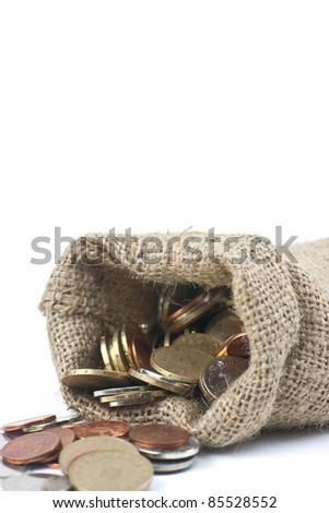 money bag against white background - stock photo